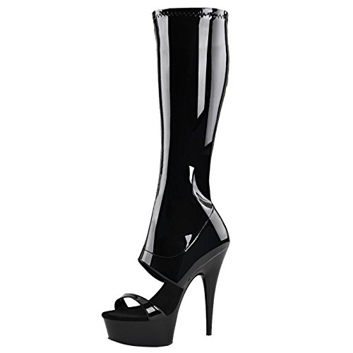 Pleaser - Sexier Than Ever Plateau Peeptoe Stiefel Delight-600-47