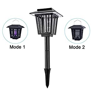 Starsprairie Solar Powered Bug Zapper Portable Outdoor Cordless Insect Killer Light Hang Stake in the Garden Lamp Kill Mosquitoes Moths Flies