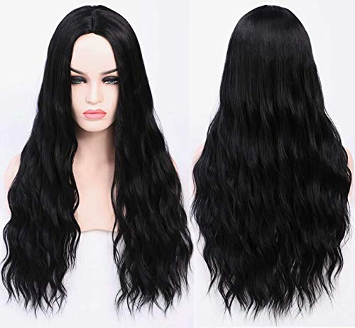 Halloween Wear All Black (Benegem 26inches Black long Wavy Wig Synthetic Middle Part Wig for Halloween Party Daily)