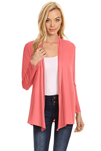 Coral Cardigan Sweater (Womens Open Drape Cardigan reg and Plus Size Cardigan Sweater Long Sleeves - USA Coral Medium)