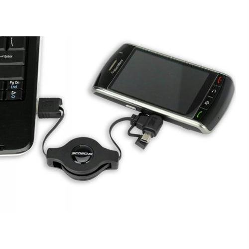Scosche MMCK Car Charger with Retractable Mini /& Micro USB 2.0 Charge and Sync Cable