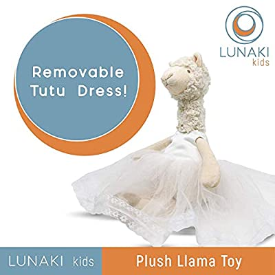 Lunaki Llama Stuffed Animal Plush Toy in White Dress - Premium Gift for Girls, Great Toys for Birthday, Baby Shower & Christmas - 19 inches: Toys & Games