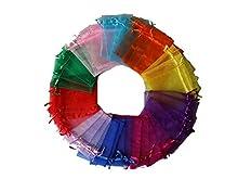 Febbya Bolsas de Organza,100 Piezas Bolsos Regalo Caramelo Bolsa para Regalos Joyas Bodas Favores Joyas 10 Colores 9x12CM
