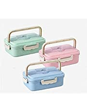 Wheat Straw Bento Lunch Box with Fork and Spoon, 3 Compartment Leakproof Divided for School/Picnic Food Fruit Storage Containers, Lunchbox for Kids and Adults