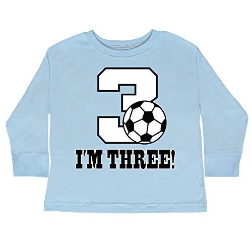 788ebe55 inktastic - 3rd Birthday Soccer Toddler Long Sleeve T-Shirt 4T Light Blue ()