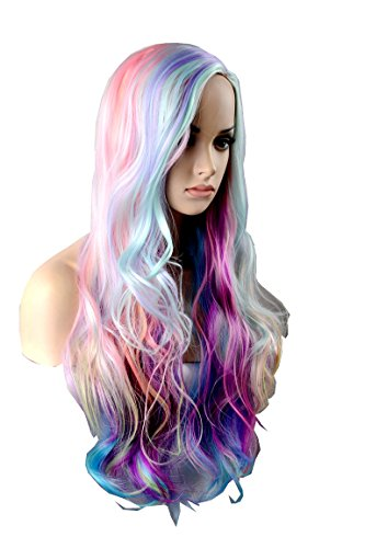 (Wigbuy Cosplay 29.5 inches Colorful Hair wigs Ideas Multi color Synthetic Heat Resistant Fiber Natural Loose Long Wigs for Women)