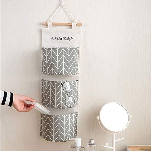 Gris Bolsa de almacenamiento creativa de algod/ón impermeable de lino para colgar en la pared Bolsillos m/últiples Organizadores Bolsa de almacenamiento de escombros para ba/ño de dormitorio