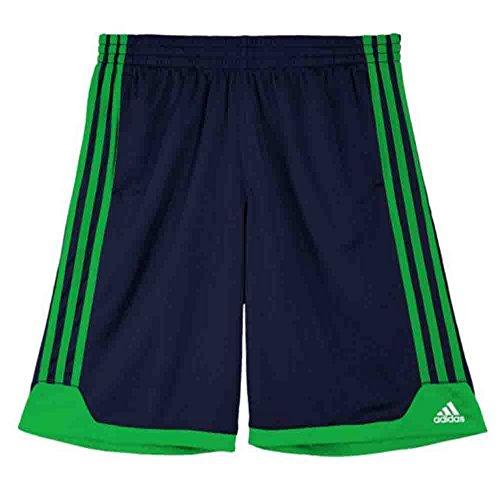 Adidas Boys Athletic Basketball Shorts, Navy with Green Trim, Medium 10/12