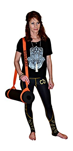 Yoga Mat Carry Strap (Orange) Yoga Mat Sling Harness - 100% Premium Cotton - Great for stretching and yoga poses. Keeps the mat rolled tight (Strap only)