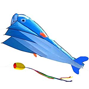 IMAGE 3D Kite Huge Frameless Soft Parafoil Giant Blue Dolphin Breeze Beach Kites