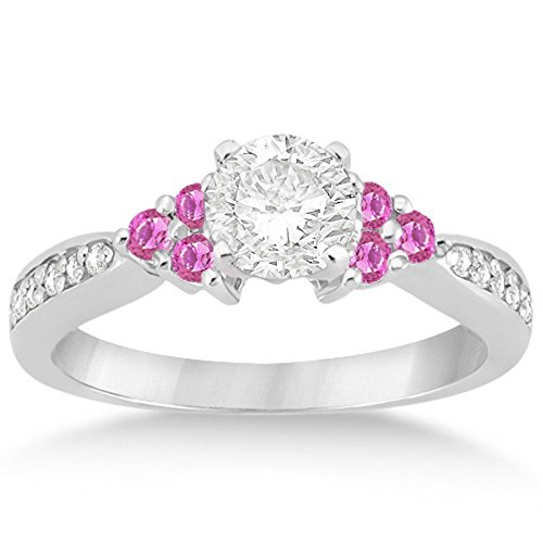 Contemporary Floral Pink Sapphire and Diamond Engagement Ring Setting Band Palladium (0.30ct) GH VS (Floral Pink Sapphire)