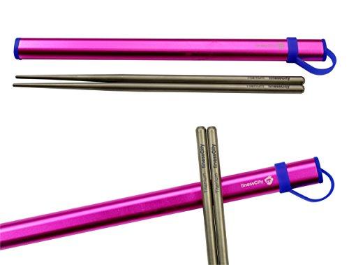 Titanium Chopsticks Extra Strong Ultra Lightweight Professional (Ti), Chopsticks Comes with Exclusive Quality Free Aluminium Case (Pink)