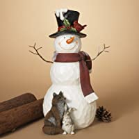 GIL 2348810 20 H Magnesium Snowman w/Wood Christmas, 11InL x 9InW x 20.2InH, Multicolor