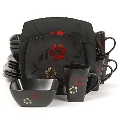 - Gibson Evening Blossoms 16-Piece Elite Design Ceramic Dinnerware Set, Black Satin