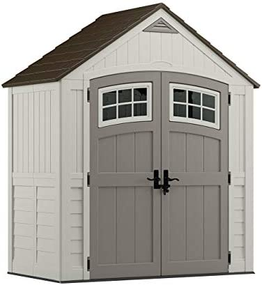 Suncast 6 x 3 Cascade Storage Shed – Natural Wood-like Outdoor Storage for Power Equipment and Yard Tools – All-Weather Resin Material, Transom Windows and Shingle Style Roof