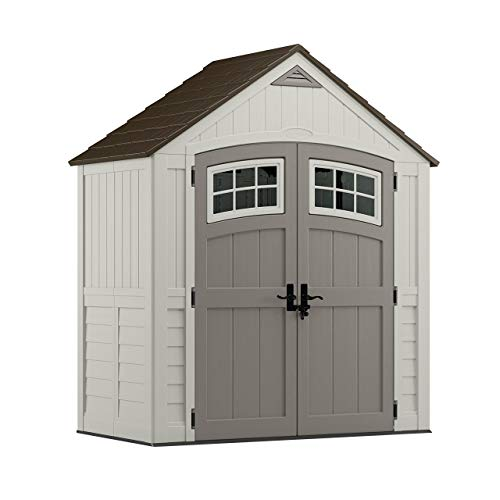 Suncast 6' x 3' Cascade Storage Shed - Outdoor Storage for Backyard Tools and Accessories - All-Weather Resin Material, Transom Windows and Shingle Style Roof