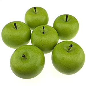 Gresorth 6pcs Lifelike Artificial Green Apple Faux Fake Apples Fruit Home House Kitchen Cabinet Decoration 2