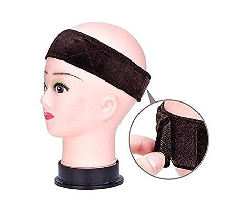 2Pcs Wig Band Adjustable Elastic Wig Headband Grip Velvet Scarf Head Hair Comfort Extra Hold Non Slip Bands Keeps Wig Secured Prevents Headaches Hair Loss(Black) Elandy