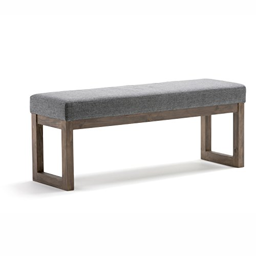 Simpli Home 3AXCOT-252-LG-GL Milltown 44 inch Wide Contemporary  Ottoman Bench in Grey Linen Look Fabric ()