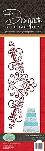 Designer Stencils C409 Princess Lace 4 Cake foodgrade stencil, 3.5 x 10.5, Beige/Semi-Transparent ()