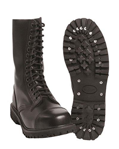 Mil-Tec 14-Loch Gothic Schuhe Invader Schnürschuhe Gothicschuhe Gothic Schwarz 37-47
