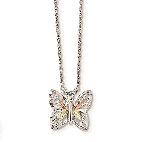 Landstrom's Black Hills Sterling Silver and 12K Gold Accent Butterfly Pendant with 18