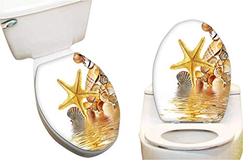 - Waterproof Toilet Seat Sticker Shells and Starfish Reflection On Water Golden Color Wellness Spa Natural Clear Beach Toilet Stickers Restroom Art Stickers 6