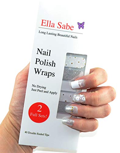 Nail Wraps - Silver and White with Glitter and Daisies - Vibrant colors - Beautiful Eye Catching Design