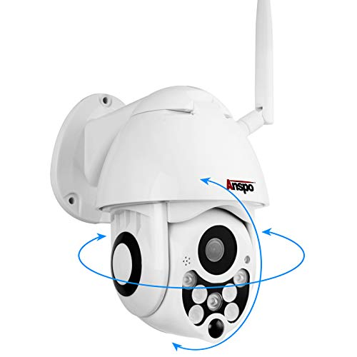 Wireless PTZ Security IP Camera Outdoor, Anspo HD 1080p WiFi Pan Tilt Zoom Dome Camera Indoor Homes, Night Vision Two Way Audio Motion Detection CCTV Surveillance Cam IP66 Weatherproof Cloud Storage A