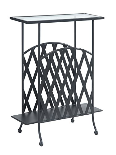 Convenience Concepts Wyoming Wrought Iron Glass Top Side Table, Tempered Glass (Chairs Wrought And Iron Table Glass)
