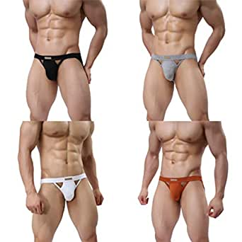MuscleMate Premium Men's Jockstrap Men's Hot Thong Underwear Low Raise, Comfort, Multicoloured - Small