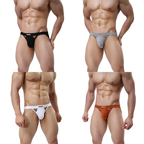 MuscleMate Premium Men's Jockstrap Men's Hot Thong Underwear Low Raise, Comfort, (M, A Set of 4 Colors)