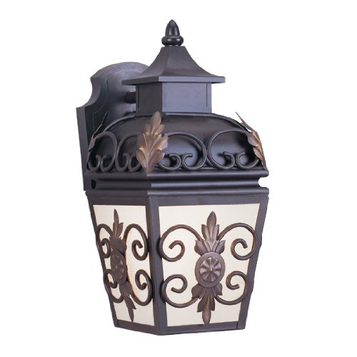 Livex Lighting 2191-07 Outdoor Wall Lantern with Antique Honey Linen Glass Shades, Bronze