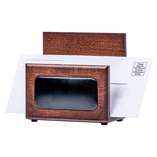 Dacasso Walnut and Leather Letter Holder (Walnut Letter Tray)