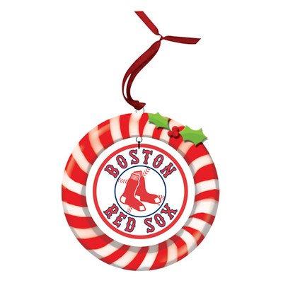 (MLB Candy Cane Wreath MLB Team: Boston Red Sox)