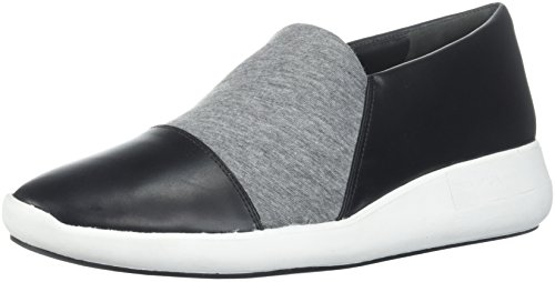 Via Spiga Womens Morgan Slip Sneaker Zwart Leder / Heather Grey Jersey