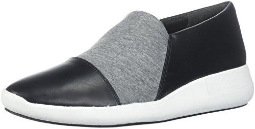 Via Spiga Womens Morgan Slip on Sneaker Black Leather/Heather Grey Jersey
