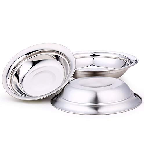 Nizzco 7.9 inch Stainless Steel Round Plate Set for Camping Outdoor,Serving Tray,Dish Plate,Kitchen Dinner Plates,Pack of 3 by Nizzco