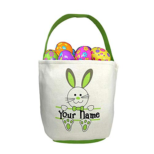 (Personalized Green Easter Basket with Bunny Rabbit and Name Banner Custom Egg Hunt Tote Bag - Your Choice of Free)