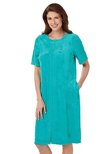(Terry Cloth Zipper Robes for Women, Color Turquoise, Size Medium, Turquoise, Size Medium)