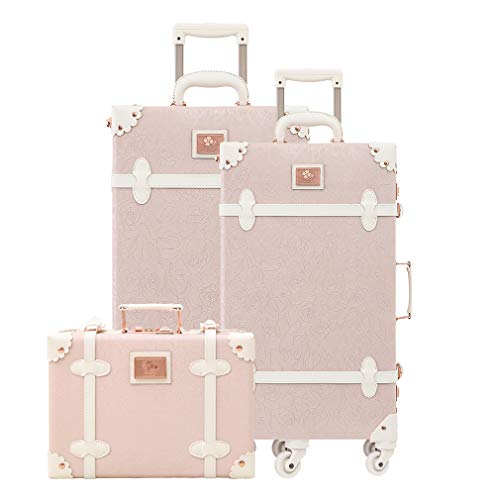 Women Trolley Suitcase Set Lightweight Travel Luggage Carry On Leather Trunk 3 Pieces Elegant Pink