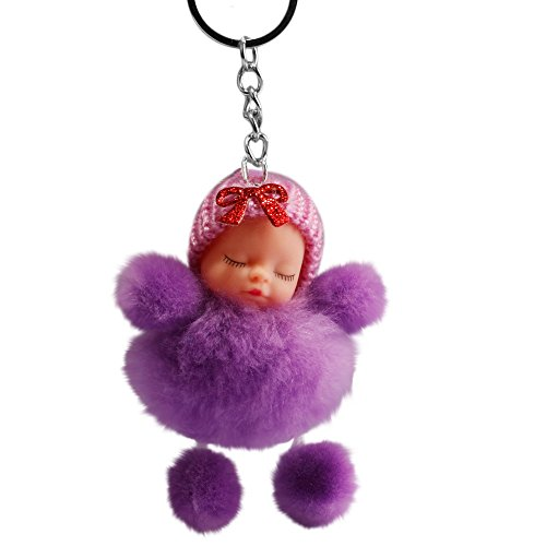 Cute Sleeping Baby Bowtie Fluffy Pompom Fur Plush Doll Keychain Keyring Key Ring