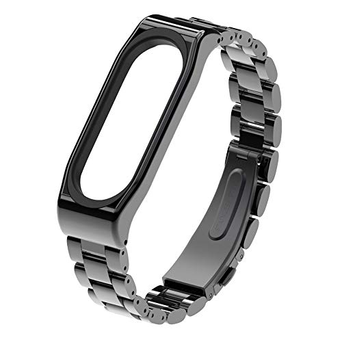 Price comparison product image Compatible Xiao Mi Band 3 Replacement Band 12mm Soft Stainless Steel Bracelet Watchband Strap for Xiao Mi Band 3 (Black)