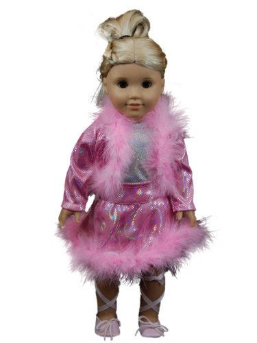 """Skating Dance Set Pink Boa Trim Jacket and Skirt Fits 18"""" American Girl® Doll Clothes & Accessories"""