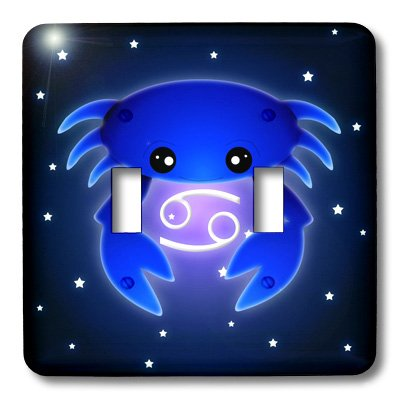 3dRose lsp_28551_2 Cute Astrology Cancer Zodiac Sign Blue Crab Double Toggle -