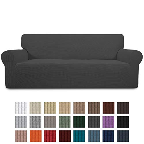 Easy-Going Stretch Sofa Slipcover 1-Piece Couch Sofa Cover Furniture Protector Soft with Elastic Bottom for Kids,Pet. Spandex Jacquard Fabric Small Checks(Oversized Sofa,Dark Gray) (Large Cushions Sale For Sofa)