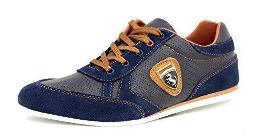 Zapatillas Informales Para Hombre De Piel Con Cordones Vestido Inteligentes zapatos núm. RU - Azul marino/Marrón, 11 UK / 45 EU