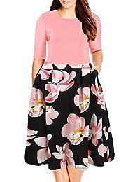 Nemidor Women's Floral Print Vintage Style Plus Size...