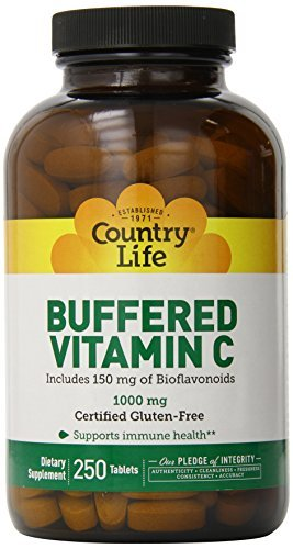 Country Life Buffered Vitamin C 1000 Mg Plus 150 mg of Bioflavonoids, 250-Count by Country Life by Country Life