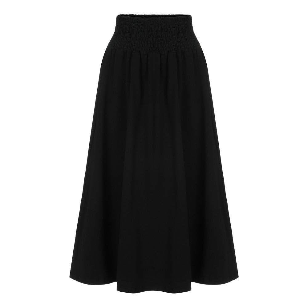 Womens Fashion Elastic Waist Solid Pleated Vintage A-line Loose Long Skirts Black by Cardigo (Image #3)